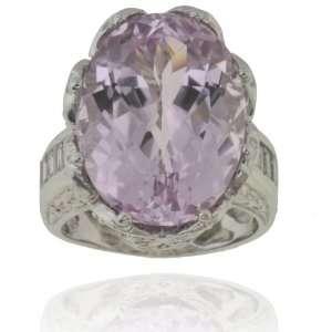 Michael Valitutti 14K White Gold Kunzite & Diamond Ring