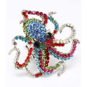 Sea Creature Octopus Raibow Crystals Cocktail Ring