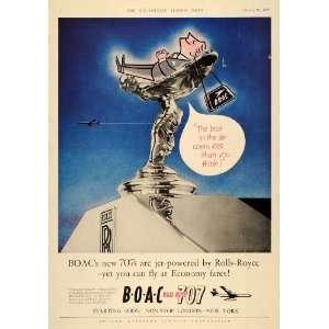 1960 Ad BOAC 707 Rolls Royce Engine Spirit of Ecstasy   Original Print