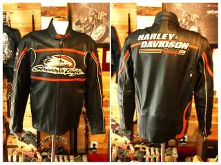 100% AUTH Harley Davidson screamin eagle racing leather rider jacket