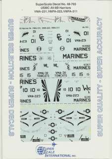 48 SuperScale Decals Marine AV 8B Harrier II VMA 231 VMFA 223 VMFA 311