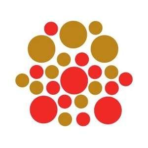 Set of 30   Red / Metallic Copper Circles Polka Dots Vinyl
