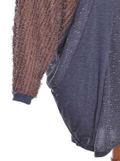 Casual Furry Shaggy Loose Fit Baggy Brown Blue Long Sleeve Sweater w