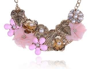 Gold Tone Foil Leafy Flower Pink Enamel Fabric Faux Pearl Spring