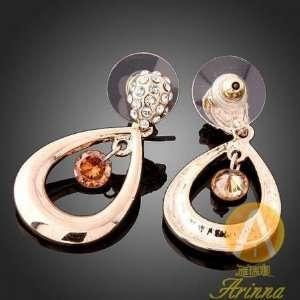 Arinna Swarovski Crystal Champagne Gp Earrings Everything