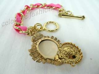 JUICY COUTURE Solid Perfume Bracelet Pink Ribbon Gold Chain Crystal