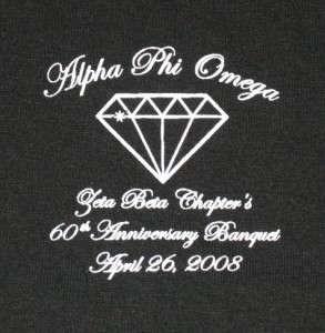 Alpha Phi Omega Zeta Beta Black Tee Shirt M Men Women