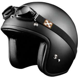 SparX Old School Bobber Open Face Pearl Motorcycle Helmet Matte Black