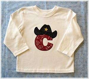 Toddler Infant Boys Cowboy Letter or Number LS T Shirt Birthday Shirt