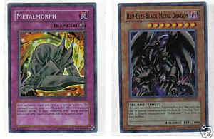 YU GI OH METALMORPH & RED EYES BLACK METAL DRAGON HOLOS