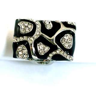 r8767 Size 6.5 14K Gold Plate GP Square Black Diamante CZ Ring Jewelry