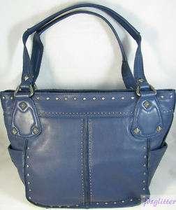 MAKOWSKY Blue Silver Studded Leather Purse NEW