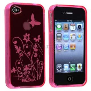Pink Flower Skin CASE+PRIVACY FILTER+Car+AC Charger+Cable for Apple