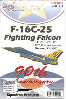 Decal 48 1214 F 16C 25 Fighting Falcon 111FS/ 147th FG