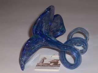 New Murano Blue Art Glass Flower Italy