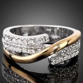 Tone Gold GP Swarovski Crystal ARINNA Wedding Ring