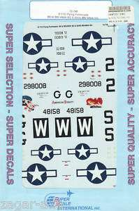 72 SuperScale Decals B 17G Flying Fortress American Beauty & Bobby