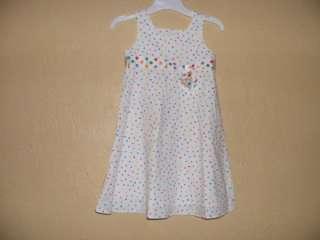 BT Kids White Multi Color Dots Sleeveless Dress Girls 6