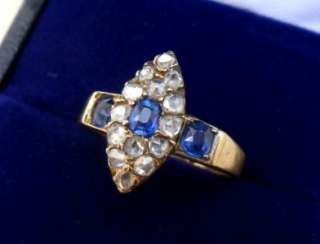 18ct gold victorian marquise Sapphire rose Diamond ring