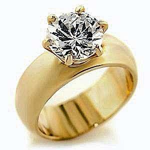 18kt Gold gp Ladies Round Crystal #505 Ring Sz 5 10
