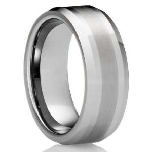 8MM Mens Tungsten Carbide Ring Wedding Band with Brushed finish [Size