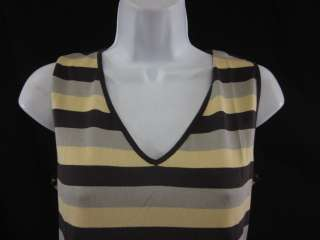 AKRIS Yellow Brown Striped Sleeveless Shirt Top Sz 8