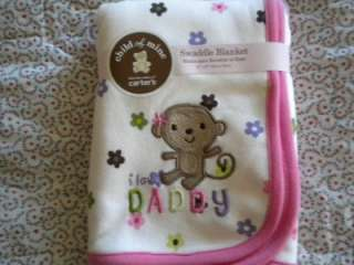Carters I Love Daddy Pink Baby Girl Swaddle or Receiving Blanket NWT