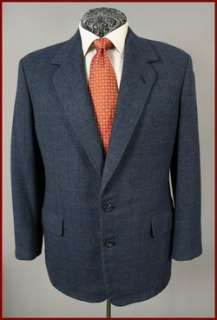 CUSTOM TOM JAMES MENS BLUE WINDOPANE BLAZER SPORT COAT 40 S