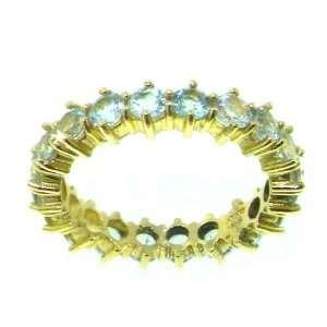 9K Yellow Gold Ladies Aquamarine Full Eternity Ring   Finger Sizes 5