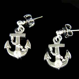 Nautical w Swarovski Crystal Rhinestone Yacht Stud Stick Earrings Xmas