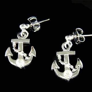 Nautical w Swarovski Crystal Rhinestone Yacht Stud Stick Earrings Xmas