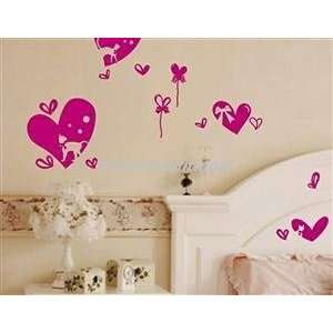 DIY Home Decor Hearts PVC Wall Decal Sticker Red for Girls