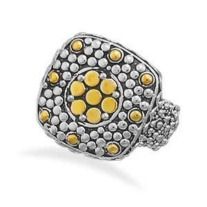 and 14 Karat Gold Plated Oxidized Dot Design Ring Size 6 Jewelry