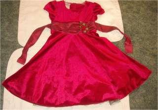 VALENTINES CHURCH RED VELOUR & SATIN ROSE FANCY TWIRL DRESS IRIS & IVY