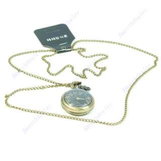 Antique Bronze Necklace Chain Pendant Ball Clock Watch