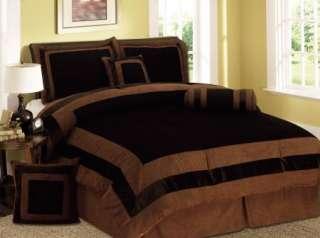 NEW Chocolate Brown Bedding Suede Comforter Set   Queen ,King ,Twin