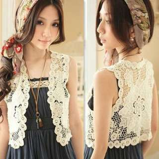 New Fashion Women Crochet Hollow Vest Jacket Top Waistcoat 2171