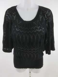 QUOTATION Black Cotton Knit Short Sleeve Sweater Sz L