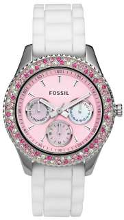 NEW Fossil ES2895 Stella Silicone Pink Dial crystals mop small Women