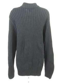 NAPOLIELLO Black Cotton Ribbed Half Zip Sweater Size L