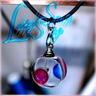 Custom Made Your Name on Rice Crystal Cute Round Pendant w Necklace X