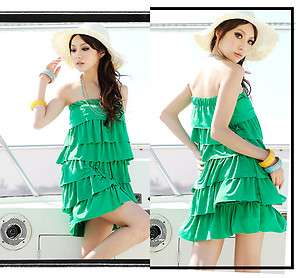 Vacation Must Green Multi Layers 2 Ways Wear Tube Dress