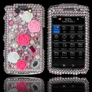 Bling Diamond Pink Rose Hard Case Cover for Blackberry 9550 9520 storm