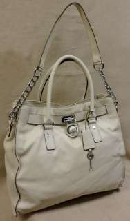 NWT AUTH MICHAEL KORS HAMILTON VANILLA LG N/S LEATHER TOTE BAG   MSRP$