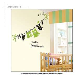 Happy Sunny Day Laundry Line Nursery Kids Room Wall Decor Sticker
