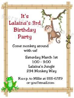 JUNGLE SAFARI Birthday Party Baby Shower Invitations