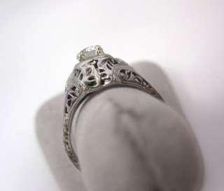 AMAZING ANTIQUE ART DECO 18K WHITE GOLD FILIGREE LARGE DIAMOND