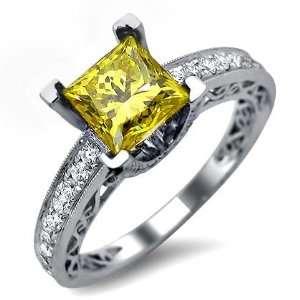 14ct Princess Cut Canary Yellow Diamond Engagement Ring 18k White Gold
