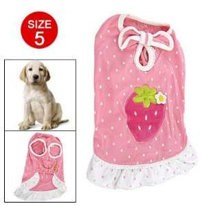 Pink White Summer Strawberry Print Dress for Dog Pet
