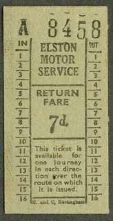 Elston Motor Service Newark UK bus ticket 7d
